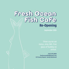 Green Blue Fresh Ocean Fish Instagram Square  Restaurants