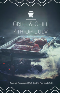 Black With Grilled Meat Poster 4th of July