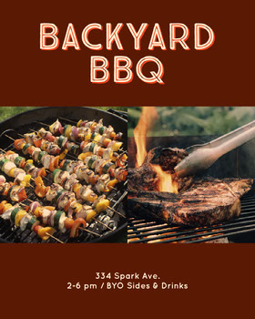Dark Brown Backyard Barbecue Ad with Shish Kebabs and Meat on Grill Flyer