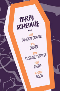 Purple and Orange Halloween Party Schedule Scary