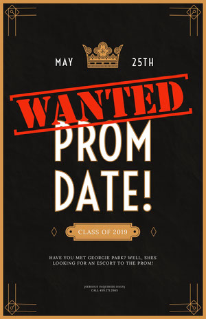 Gold and Black Prom Date Wanted Flyer Prom Posters