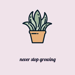 Pink Illustrated Motivational Phrase Instagram Square with Potted Plant Plants