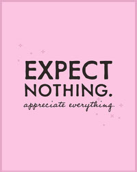 expect nothing. Tekstijulisteet