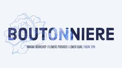 Blue Boutonniere Making Workshop Ad Banner with Flower Illustration Workshop