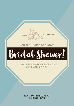 Blue and Yellow Bridal Shower Invitation Card Bridal Shower Invitation