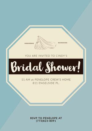 Blue and Yellow Bridal Shower Invitation Card Convites de Chá de Panela