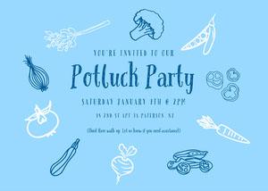 Blue Illustrated Potluck Invitation Potluck Invitation
