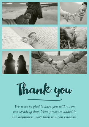 Green With Black and White Photos Thank You Card Family Collage
