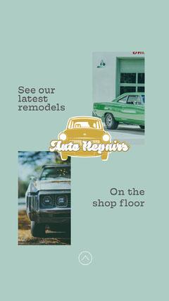 Blue Stripe Auto Repair Shop Instagram Story  Car