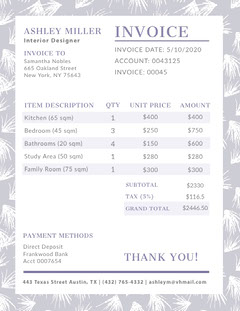 Gray Interior Design Invoice Interior Design