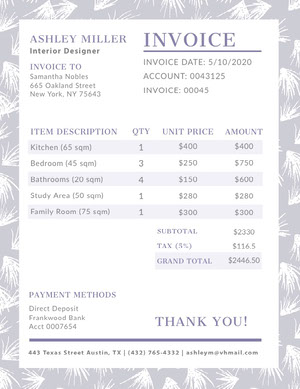 Gray Interior Design Invoice Faktura