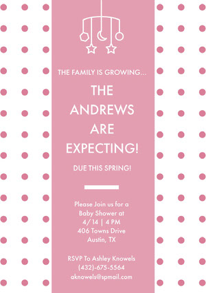 Pink Polka Dot Pregnancy Announcement Card Pregnancy Announcement