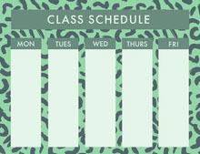 Green Weekly School Class Schedule 일정