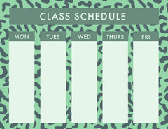 Green Weekly School Class Schedule Education