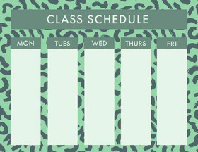 Green Weekly School Class Schedule Study Helpers