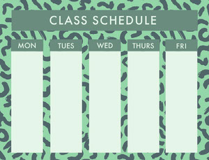 Green Weekly School Class Schedule Uni-Stundenplan