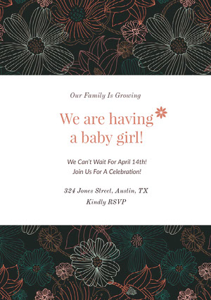 Floral Pregnancy Announcement Card Pregnancy Announcement