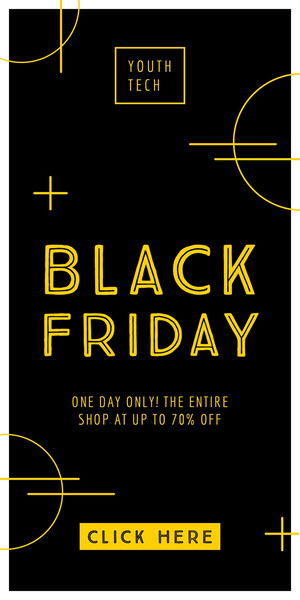 Yellow and Black Black Friday Technology Store Web Ad Black Friday