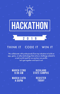 White and Blue Campus Poster Tech