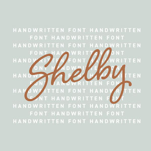 Cyan and Brown Handwriting Calligraphy Font Logo Brand Square Graphic 32 polices calligraphiques & scriptes