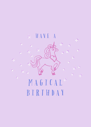 Pink and Blue Birthday Card Unicorn Birthday Card