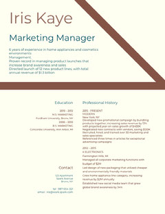 Brown and White Marketing Manager Resume Marketing