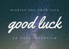 White With Sky Good Luck Card Stars