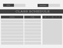 Gray Weekly School Class Schedule Aikataulu