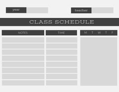Gray Weekly School Class Schedule Education