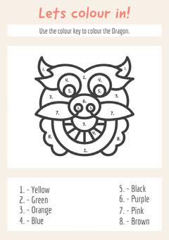 Dragon Head Coloring School Worksheet Animal