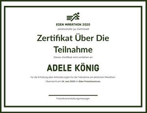 Adele König Zertifikat