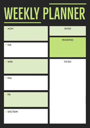 Black, White and Green, Weekly Planner Worksheet Worksheet