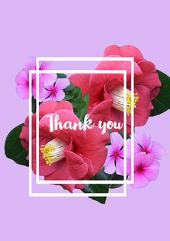 Pink With Flowers Thank You Card Friends