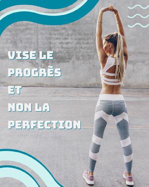 Blue Waves - Strive for progress not perfection - IG Portrait Affiche de motivation