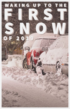 First Snow Winter Flyer with Street and Cars Car