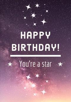 Starry Night Sky Happy Birthday Card Space