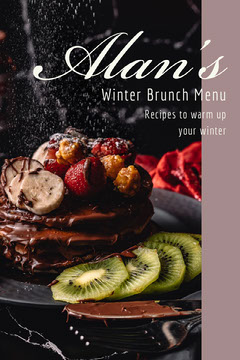 Winter Brunch Recipes Pinterest Graphic with Gourmet Food Photo Brunch