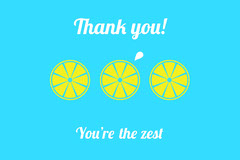 Blue and Yellow Lemon Pun Postcard Thank You Poster
