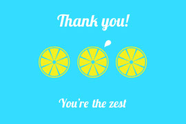 Blue and Yellow Lemon Pun Postcard Vykort
