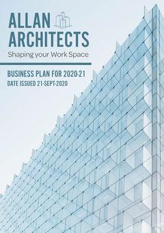Light Blue Glass Building Architects Business Plan A4 Business