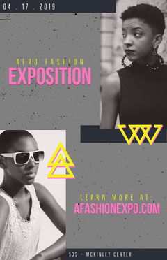 Gray Fashion Exposition Event Flyer with Fashion Models Fashion Show