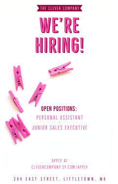 White and Pink Clever We're Hiring Pink Pegs Poster Job Poster
