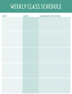 Turquoise Weekly School Lesson Plan Education