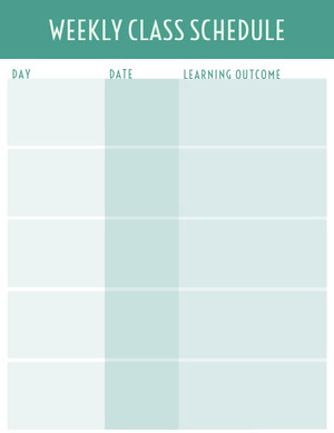 Turquoise Weekly School Lesson Plan Piano di studio