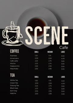 Black and White Cafe Menu Tea Time