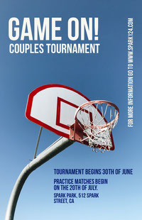 Blue, White and Red Basketball Tournament Poster Basketball