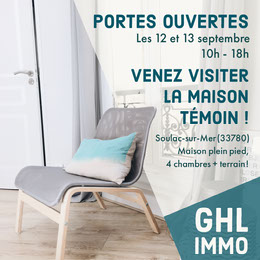 Teal and White Chair Open Doors House Viewing Instagram Square Prospectus immobilier