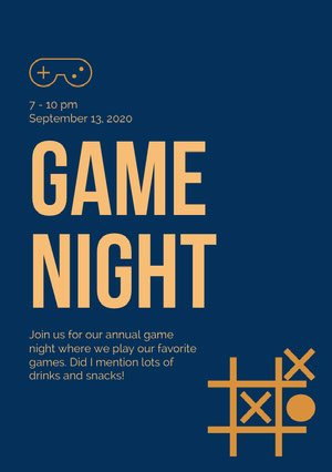 Orange and Navy Blue Game Night Invitation Pelikortit