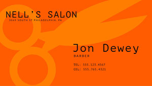 Orange Modern Barber Business Card Biglietto da visita