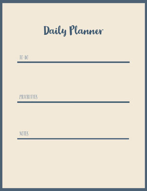 Beige and Black Empty Daily Planner Card Agenda giornaliera